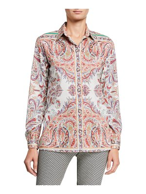 Etro Cotton Paisley Placed Fern Shirt