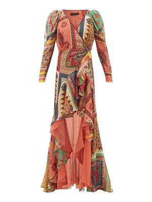 Etro dahlia ruffled-skirt printed-voile maxi dress