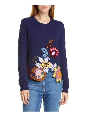 Etro embroidered floral asymmetrical hem wool blend sweater