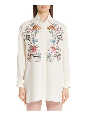Etro floral embroidered silk blouse