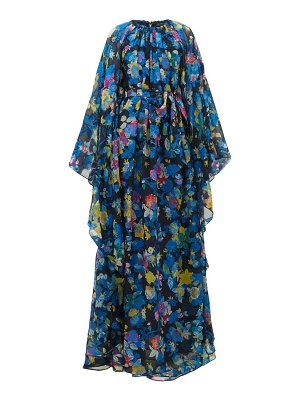 Etro floral-print cape-sleeve silk-blend maxi dress