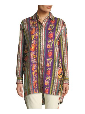 Etro Floral-Ribbon Button-Front Tunic