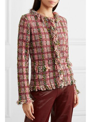 Etro frayed metallic cotton-blend tweed jacket
