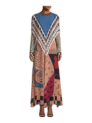 Etro fringe trim multi-print maxi dress