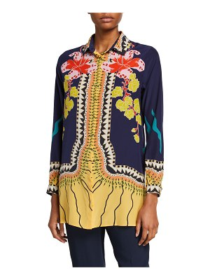 Etro Garden of Eden Silk Button-Front Tunic