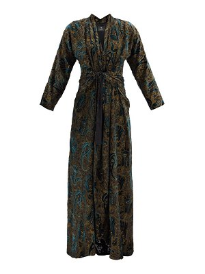 Etro gathered paisley-velvet devoré maxi dress