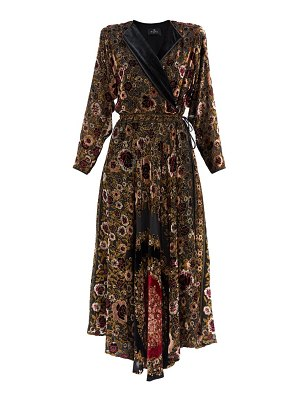 Etro jaca floral devoré-velvet wrap dress