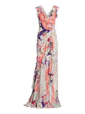 Etro japanese floral ruffle silk gown