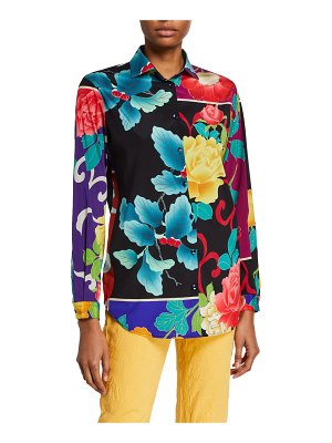 Etro Japanese Floral Silk Button Front Shirt