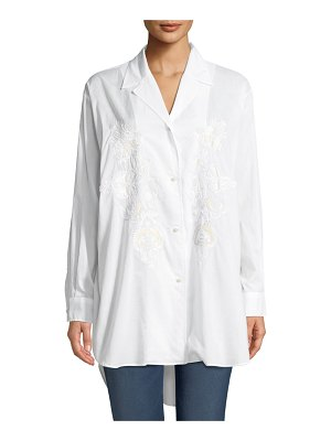 Etro Long-Sleeve Button-Front Cotton Tunic Shirt w/ Embroidery