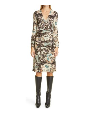 Etro long sleeve jersey wrap dress