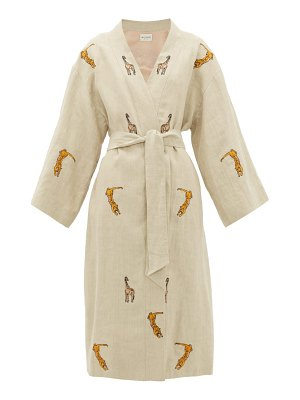 Etro malva safari-embroidered linen coat