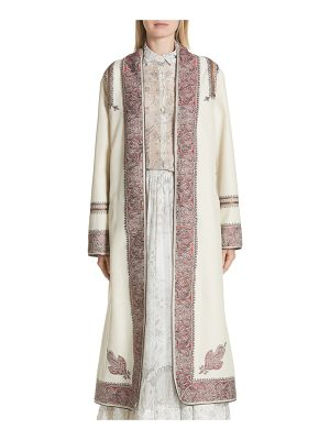 Etro metallic embroidered wrap coat