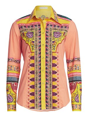 Etro mosaic print cotton button down shirt