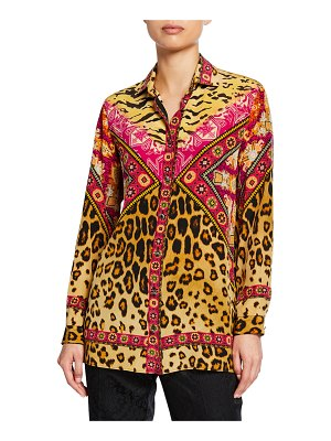 Etro Neon Leopard Button Front Tunic