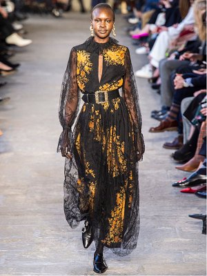 Etro nottingham lace and floral print crepe gown
