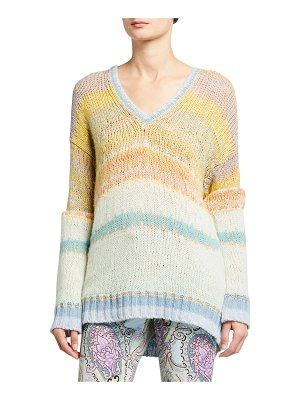 Etro Ombre V-Neck Sheer-Striped Sweater