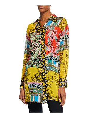 Etro Paisley Collage Chiffon Button-Front Tunic