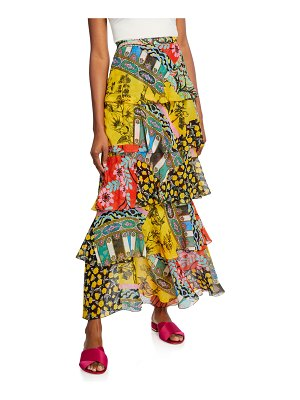 Etro Paisley Collage Tiered Skirt