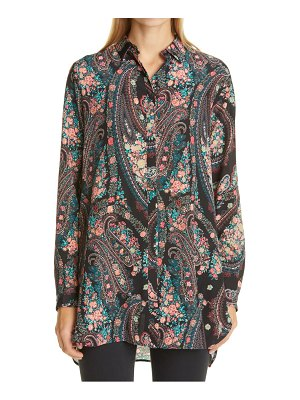 Etro paisley floral high/low silk shirt