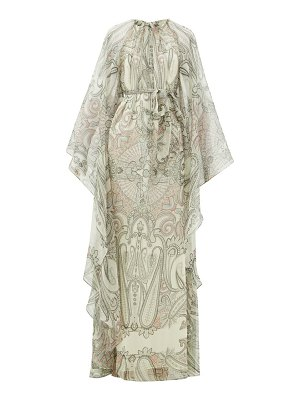 Etro paisley-print cape-sleeve silk-blend maxi dress