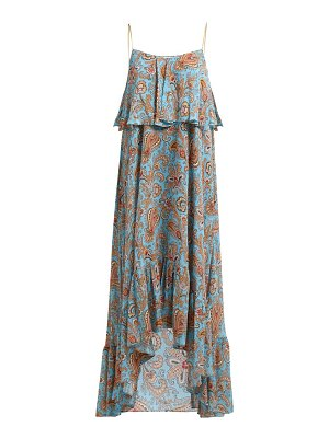 Michael Michael Kors Paisley Georgette Peekaboo Wrap Dress In Blue
