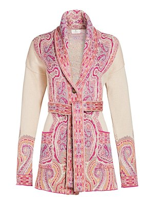 Etro paisley silk-blend knit belted cardigan