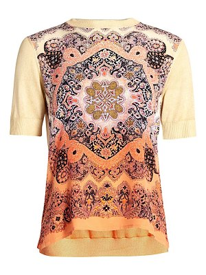 Etro paisley silk panel short-sleeve sweater