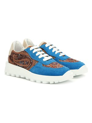 Etro Paisley suede-trimmed sneakers