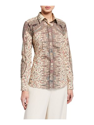 Etro Paisley Swirled Cotton Poplin Button-Down Shirt