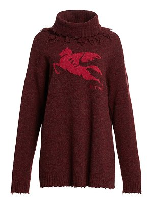 Etro pegasus detachable funnelneck wool sweater