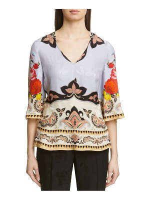 Etro placed rose print floral jacquard blouse