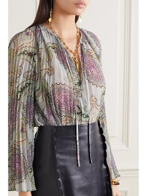 Etro pleated paisley-print crepe de chine blouse