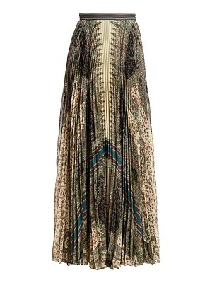 Etro pleated paisley-print maxi skirt