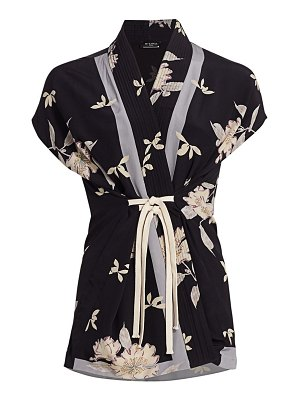 Etro plumeria tied floral silk top