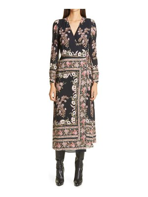 Etro print long sleeve jersey wrap dress
