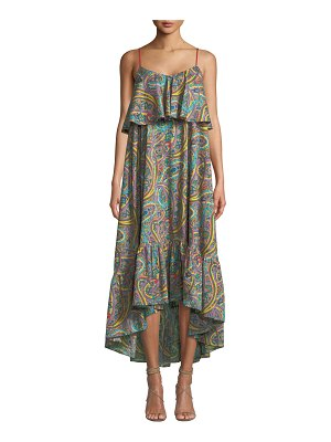 Etro Printed Cotton Tiered Ruffle Midi Dress