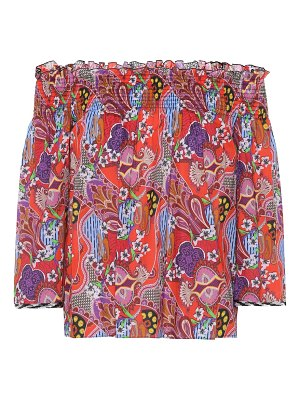 Etro Printed off-the-shoulder cotton top