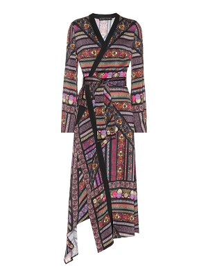 Etro Printed satin wrap dress