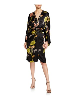 Etro Spaced Rose-Print Hammered Satin Cocktail Dress