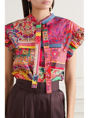 Etro tie-neck printed cotton-poplin top