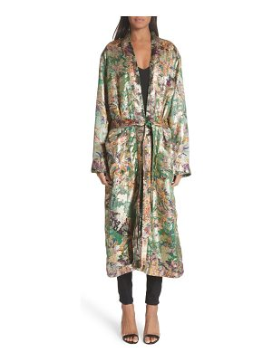 Etro tie waist silk blend metallic jacquard jacket