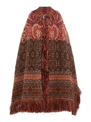 Etro torbay paisley jacquard wool blend cape