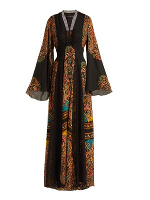Etro Zoist Printed Silk Chiffon Maxi Dress