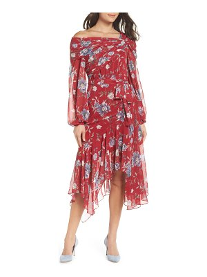 EVER NEW asymmetrical floral midi dress