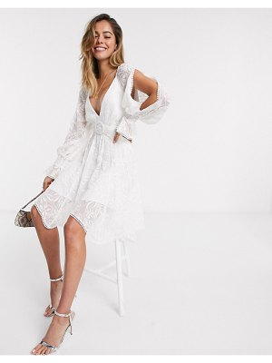 EVER NEW belted mini dress with cutout details in white