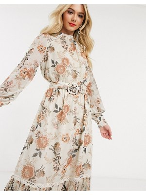 EVER NEW belted ruffle midi dressin floral jacquard print-multi