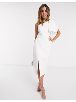 EVER NEW bow shoulder midi dress with thigh split in white