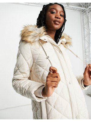 EVER NEW diamond quilted puffer coat with faux fur hood trim in cream-neutral