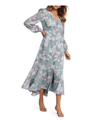 EVER NEW Floral Long-Sleeve High-Low Shirred Waist Dress